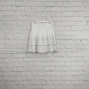 WHBM | White Full Skirt with Silver Embroidery